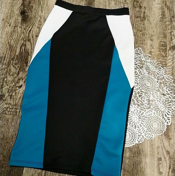 Charlotte Russe Dresses & Skirts - Pencil skirt. Black, white and blue skirt.